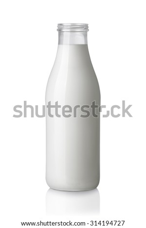 milk bottle without a cap isolated on white background