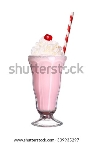 milkshakes strawberry flavor with cherry and whipped cream isolated on white background