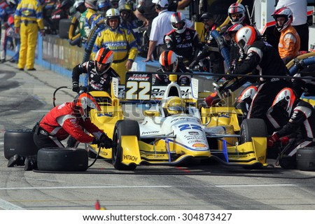 Milwaukee Wisconsin, USA - July 12, 2015: Verizon Indycar Series Indyfest ABC 250 at the Milwaukee Mile. Pit Stop Action Simon Pagenaud of Montmorillon, France Penske Truck Rental Chevrolet