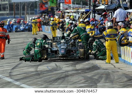 Milwaukee Wisconsin, USA - July 12, 2015: Verizon Indycar Series Indyfest ABC 250 at the Milwaukee Mile. Pit Stop action Ed Carpenter Indianapolis, Ind. Fuzzy's Vodka CFH Racing Chevrolet