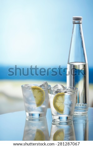 Mineral water bottle and glasses with ice cubes and lemon