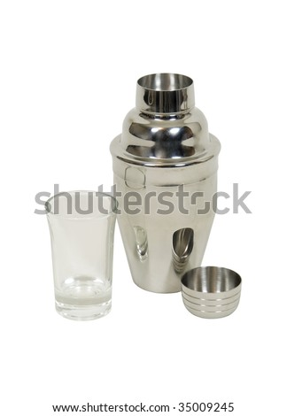 Mini martini shaker and glass for blending drinks on the go - path included