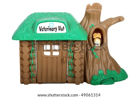 Miniature House Veterinary on Isolated White Background