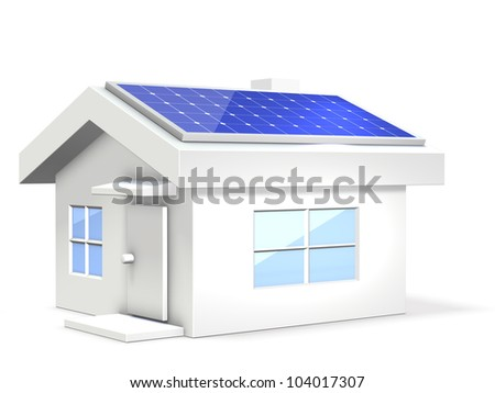 Miniature of an eco-house with solar cells.This is a computer generated image,on white background.