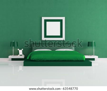 Modern Bright Green Bedroom Rendering Art Stock