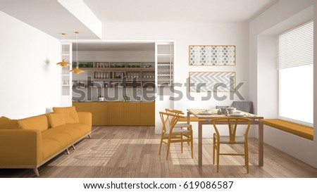 kitchen modern interior design. Minimalist kitchen and living room with sofa  table chairs white yellow modern Modern Kitchen Interior 3d Concept Illustration Stock