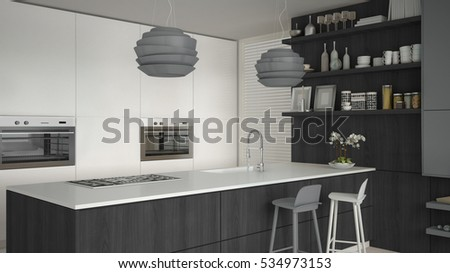Minimalistic white kitchen with wooden and gray details, minimal interior design, 3d illustration