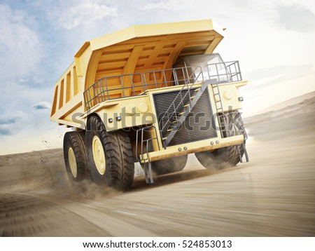 Mining truck transporting materials down a dirt road . 3d rendering with motion blur.
