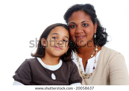 Minority woman and her daughter on white background