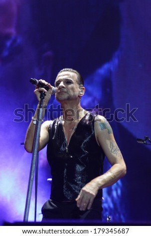 MINSK, BELARUS - FEBRUARY 28: Andrew Fletcher,  Dave Gahan and Martin Gore from Depeche Mode in concert at the Minsk Arena on Friday, February 28, 2014 in Minsk, Belarus