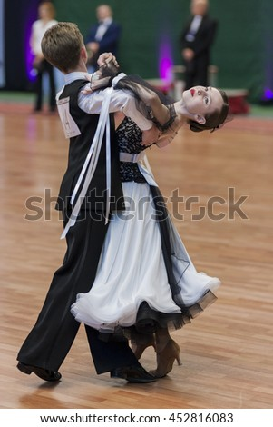Minsk, Belarus-May 28, 2016: Milehin Matvey and Dyavgo Dariya Perform Juvenile-1 Standard European Program on National Championship of the Republic of Belarus in May 28, 2016 in Minsk, Belarus