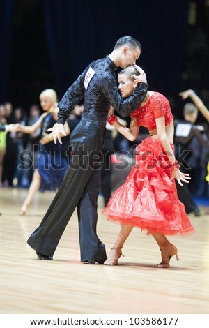MINSK-BELARUS, MAY 19: Unidentified Dance Couple performs Adult Latin ...