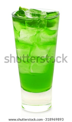 Mint long drink studio shooting isolation on white background with pen clipping path included