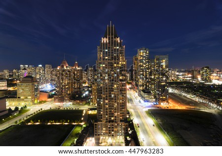 MISSISSAUGA, CANADA, JUNE 14, 2016: View to the skyscrapers in the night.