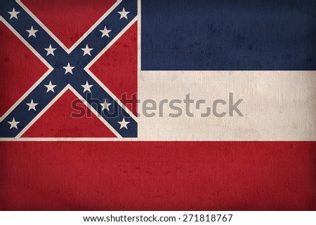 Mississippi flag on fabric texture,retro vintage style