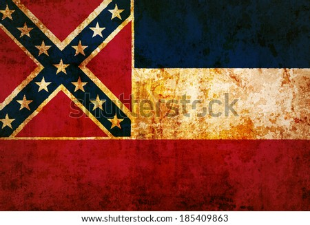 Mississippi State Flag on old paper