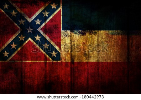 Mississippi State Flag painted on old wood background
