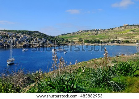 Mistra, a beautiful bay between Xemxija and Mellieha, on the west coast of Malta.