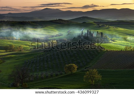 Misty landscapes in the magical time