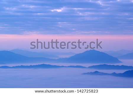 Misty mountain hills