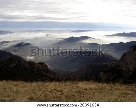 Misty Mountains in Ceahlau National Park, Romania.