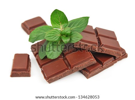 Mix chocolate and mint close up on white