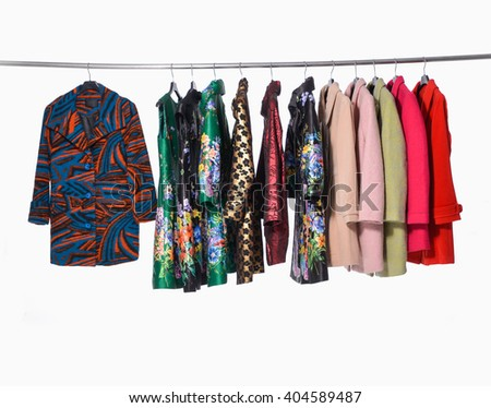 Mix color row of female clothing coat on hanging