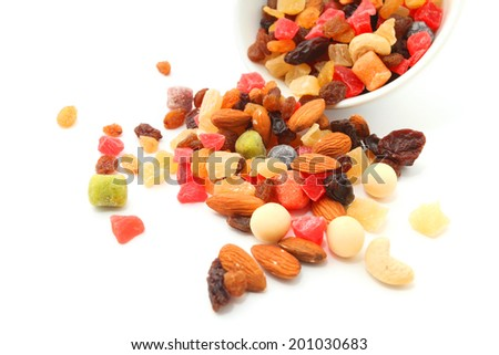 Mix nuts and dry fruits in a bowl on a white background