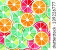 Mix of citruses illustration.Seamless pattern. - stock vector