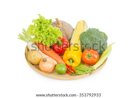 Mix vegetables isolated on white background