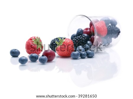 Mixed berries in a flask