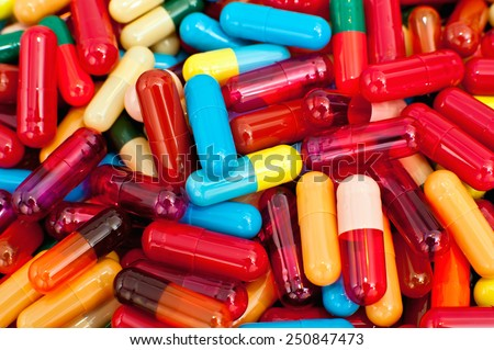Mixed colorful capsules