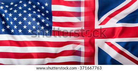 Mixed Flags of the USA and the UK. Union Jack flag.