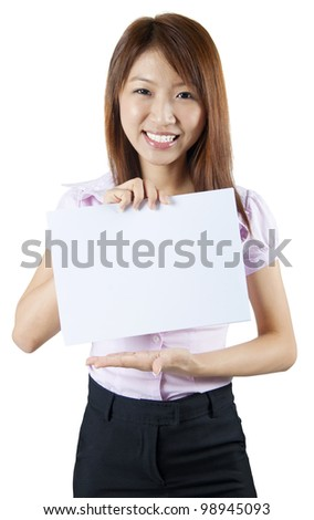Mixed race Asian woman holding a white board, ready for text