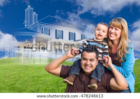 Mixed Race Family with Ghosted House Drawing, Partial Photo and Rolling Green Hills Behind.