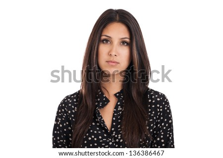 Mixed race Japanese Mexican business woman with sad expression isolated on a white background