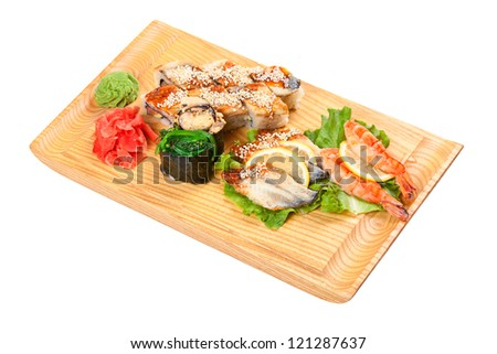 mixed sushi plate  on white background