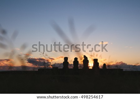 Moais at Ahu Tahai at sunset. Easter Island