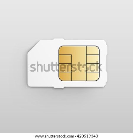 Mobile Cellular Phone Sim Card Chip Isolated on White Background