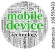 Mobile devices concept in tag cloud on white background - stock photo
