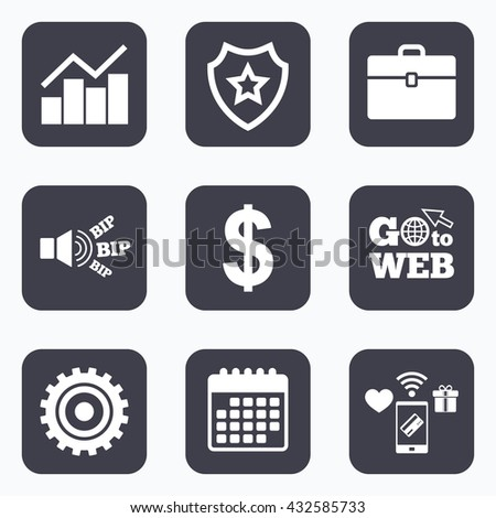 Mobile payments, wifi and calendar icons. Business icons. Graph chart and case signs. Dollar currency and gear cogwheel symbols. Go to web symbol.