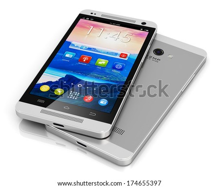 Mobile phone wireless communication technology and mobility business office concept: modern metal black touchscreen smartphone with colorful interface with color icons and buttons isolated on white