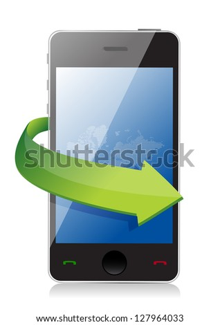 mobile phone with on the go arrow concept illustration design