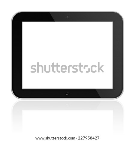 Mobile Tablet PC with Blank Screen with Shadows Isolated on White Background. Highly Detailed Illustration.
