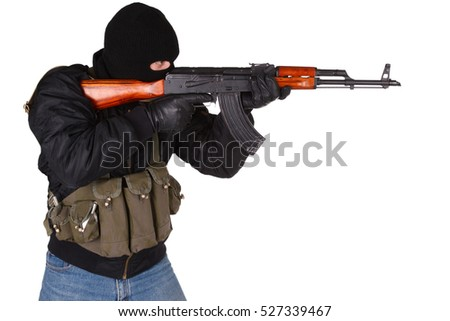 mobster with AK 47 isolated on white background