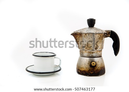 moca maker and coffee cup isolated on white background