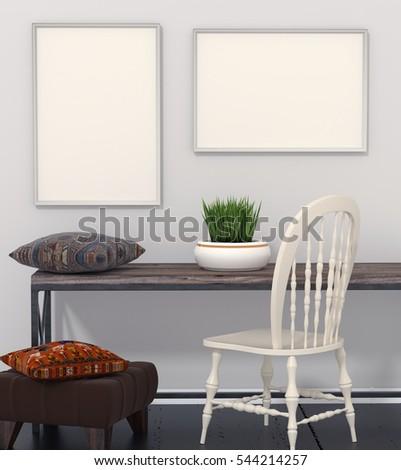 Mocap interior room. Room with gray walls and dark flooring. Dark wooden table and ottoman in the dark flooring. Bright pillows ethnic, tribal style. Green flower in a pot. White chair. 3d rendering.