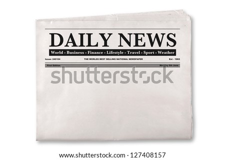 Mock up of a blank Daily Newspaper with empty space to add your own news or headline text and pictures.