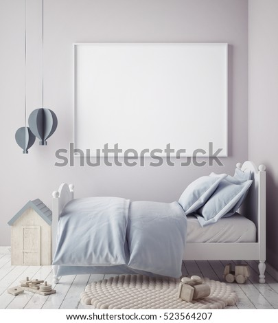 mock up poster frame in baby boy room, scandinavian style interior background, 3D render, 3D illustration