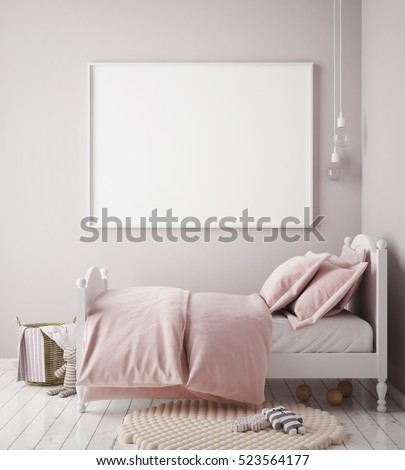 mock up poster frame in baby girl room, scandinavian style interior background, 3D render, 3D illustration